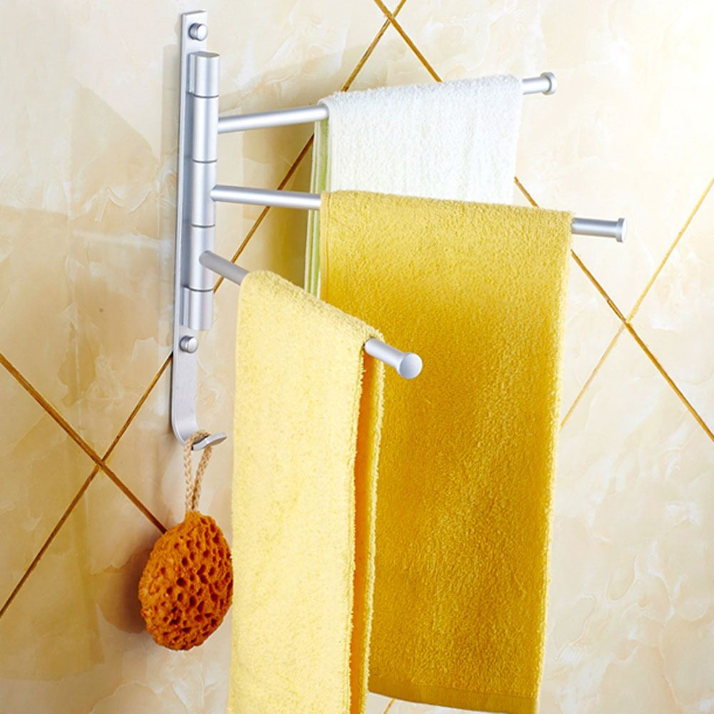 Aluminium Towel Rack 3 Swivel Bars Rotary Bar Wall-mounted Bath Bathroom/Kitchen Towels Holder Hanger Sets