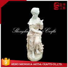 Onyx Marble Beautiful Girl With Birds Statue For Sale