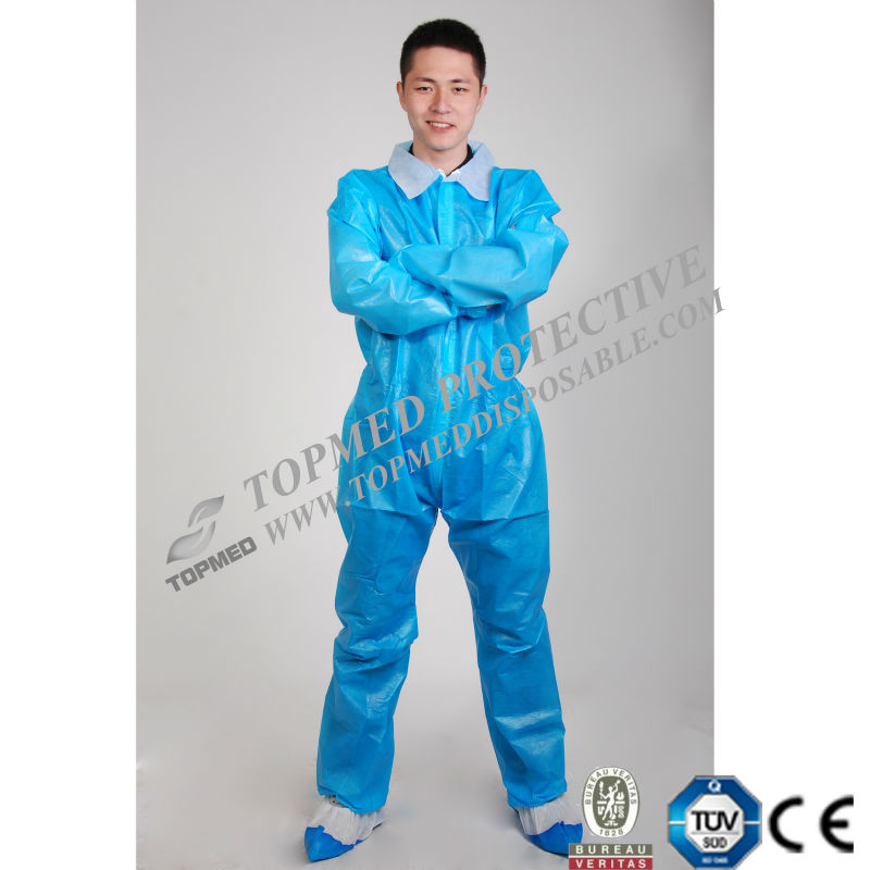 medical uniforms Disposable coverall oil field real work wear, blue with collar