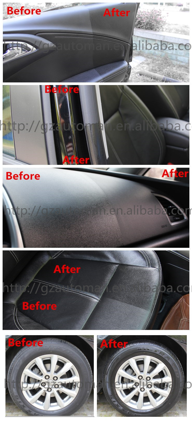 car cleaner shinner dashboard and leather spray wax car polish