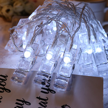 Led Photo Clips led String Lights 2m 20leds Holiday Starry light Wall led Decoration Light for wedding Hanging Photos