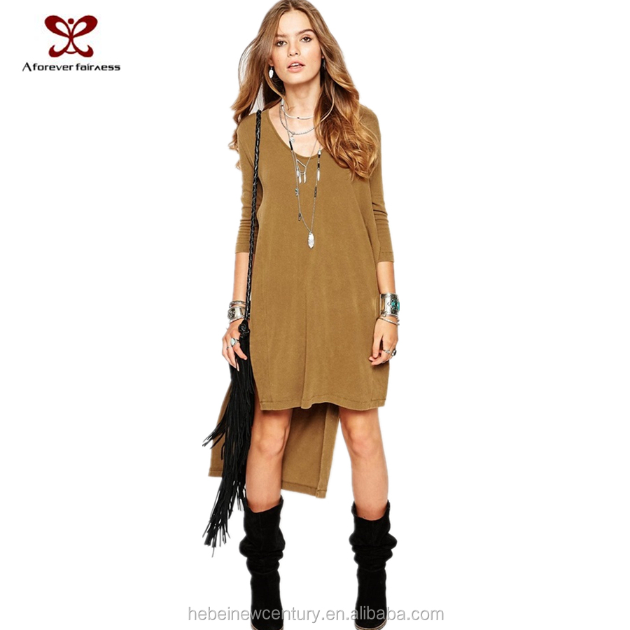 2015 Ladies Maxi Sweaters long frock for women befor short after long camel nude women sexy Side Slit model of office dress