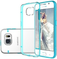 For Samsung Galaxy S6 Lighted Case Slim Fit Scratch-Resistant Transparent Back Soft TPU Bumper Case Cover Blue