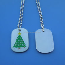 White Glitter Christmas Tree Design Kids Gift Necklace Tags