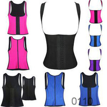 2015 Winner colorful high quality Sport latex girdle waist trainer cincher high quality vest thick shoulder girdle for women