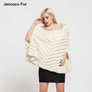 Wholesale Knitted Rabbit Fur Poncho with Raccoon Fur Collar Fashion Design Women's Cape