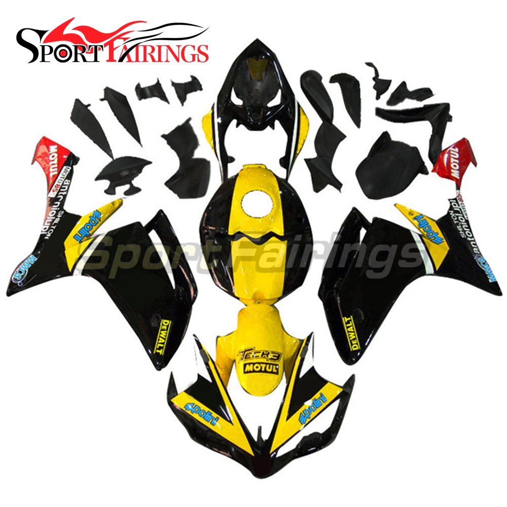 Full <strong>Fairings</strong> For Yamaha YZF <strong>R1</strong> 07 <strong>08</strong> ABS Plastic Injection Black Yellow Motorcycle Bodykit