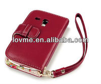 case for Samsung Galaxy S3 Mini i8190 Premium PU Leather Wallet Case / Cover / Pouch / Holster With Floral Interior - Red