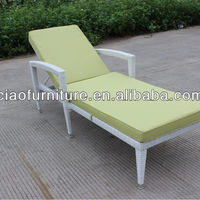 Outdoor Chaise Aluminum Frame Synthetic Rattan