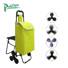 Economical Custom Design 6 Wheels Folding Small Shopping Trolley Bag With Chair