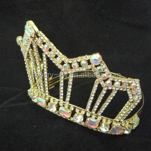 wholesale manufactory colored gold AB rhinestone wedding crown tiara