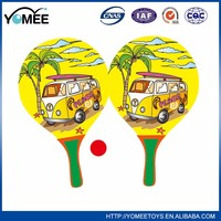 summer outdoor fun plastic beach racket with rubber ball