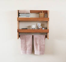 Solid Red Oak Bathroom Organizer Shelf with towel rack Wooden Towel Rack
