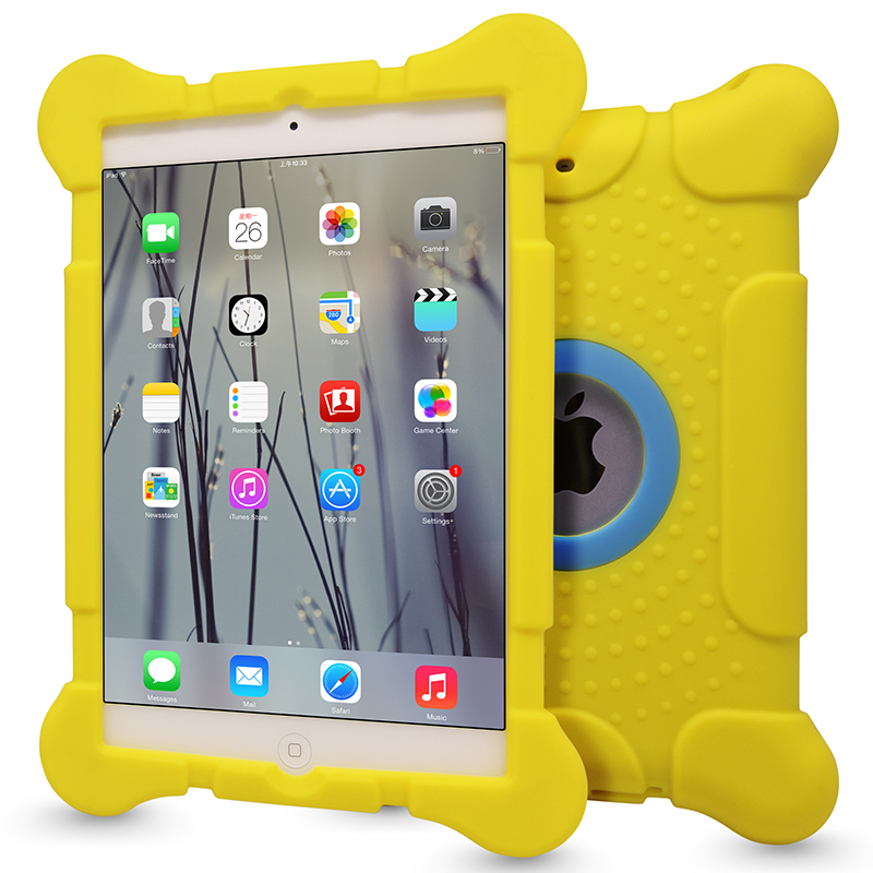Excellent yellow case for apple mini ipad cover,protective silicon tablet shell for ipad mini cases