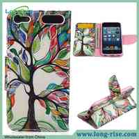 Colorful Tree Painting Leather Flip Cover for iPod Touch 6 Case with Slot