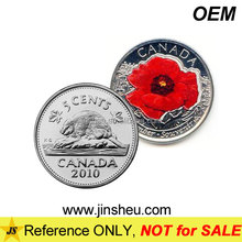 Custom made mirror effect poppy proof nickel silver canadian quarter coin