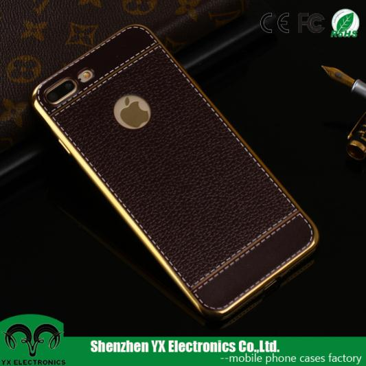 Electroplated UV printing leather soft TPU phone case for iphone 7 plus case 2016