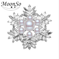 wholesale Cheap christmas brooch wholesale rhinestone pearl real gold plated snowflake brooch AB3721