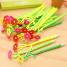 New Creative Office Stationery Lovely Simulation Plant Flowers Soft Silicone Gel Pen 0.5 Mm