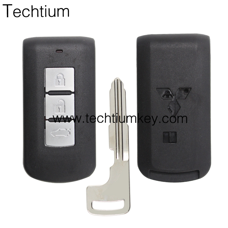 Spare car remote key for Mitsubishi Outlander smart key covers with metal logo