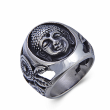 Unique Retro Buddhist Jewelry Prayer Finger Ring Stainless Steel Casting Buddha Head Ring
