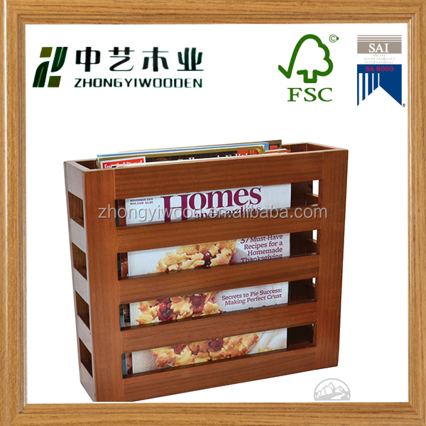 High qualtiy new arrive antique printed wooden office wooden file rack magazine rack
