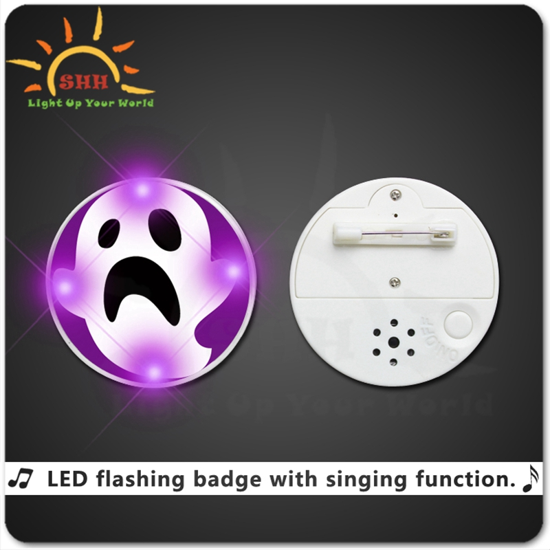 Hot selling promotion gifts singing led lighted badge with pin