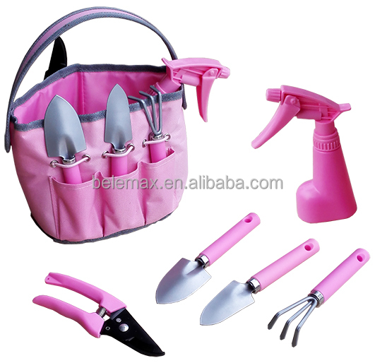 GB 05 8P 5 Pieces Pink Gardening Tools Set With Carry Bag