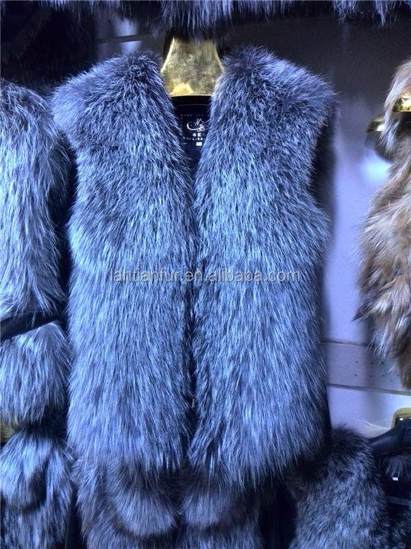 100% Real Silver Fox Fur Vest With Natural Sheep Skin Leather Womens Waistcoat