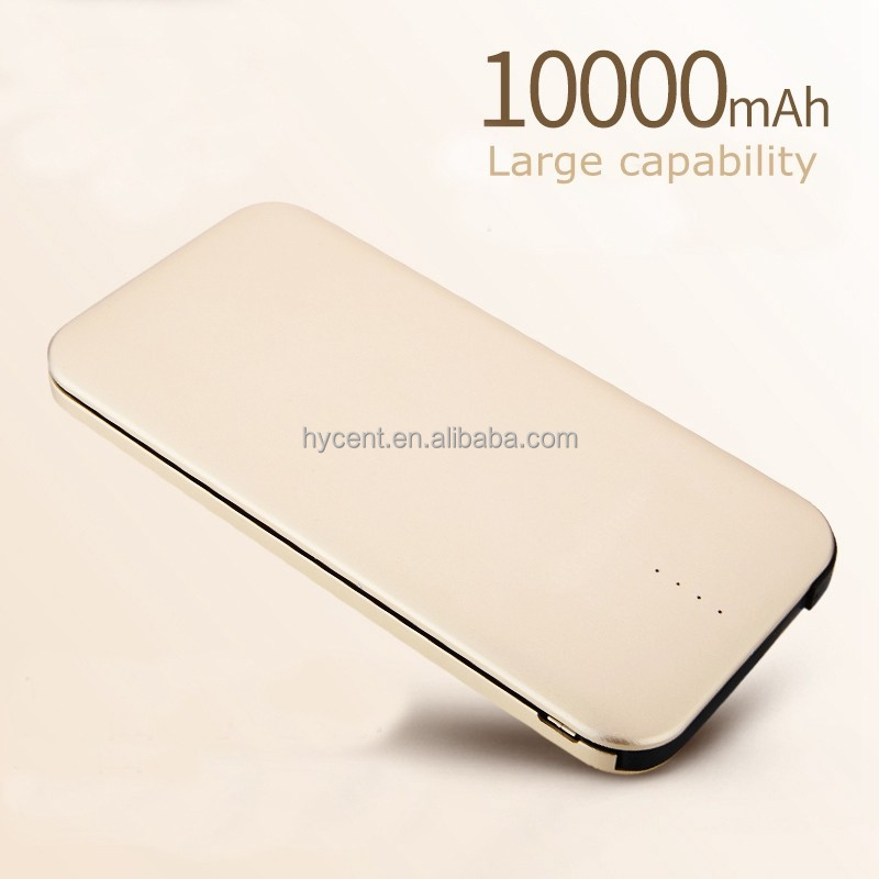 Hot sale metal ultra thin portable power bank 10000mah for moblie phone powerbank build in line