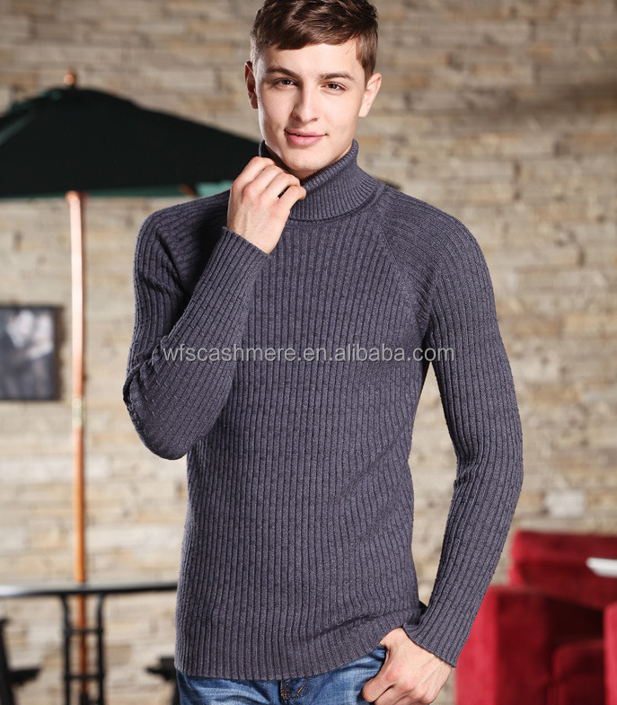 2016 Autumn winter New Mens Sweaters Fashion Turtleneck Long sleeve Slim Fit Cotton Pullover, men thick cashmere