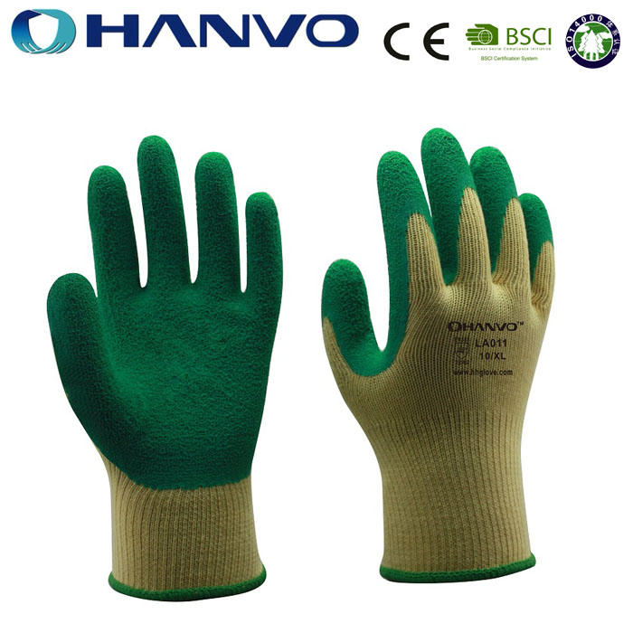 HANVO 10G wrinkle latex palm coated work gloves heavy duty industrial rubber gloves with CE standard