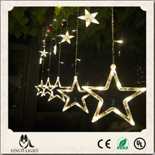 UL approved plug 2M 138Leds 12stars/set falling star led christmas lights led twinkling big stars led curtain lights 8 modes