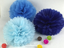Blue legend wedding and party decoration tissue paper pom poms
