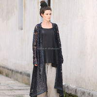 2014 latest brand new solid black 100 cotton blouse coat hollow long cardigan summer