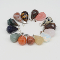Natural Stone Pendants Charm Faced Crystal