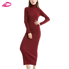 2017 winter and auntmun high collar Ladies knitted Pullovers long sleeves women long female thin package dress