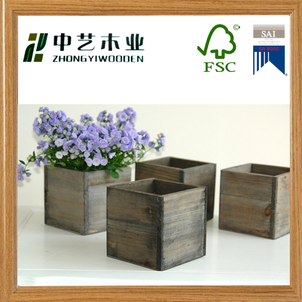 China supply rustic stained handmade home gardon square wooden flower pot
