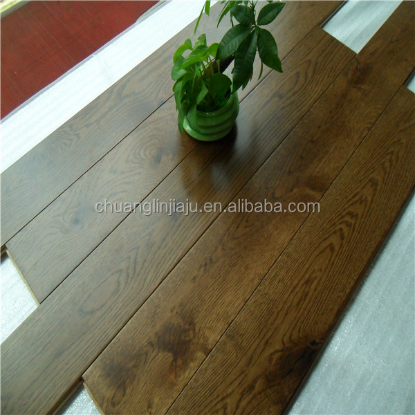 Antique black color stained oak engineered plywood flooring