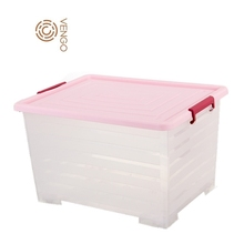 Chinese factory competitive price home big large transparent pp plastik plastic container box storage bin with lid