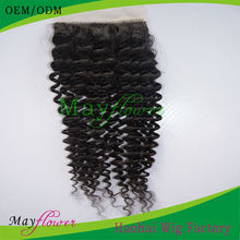 Virgin brazilian hair kinky curly silk top closure injected base medium brown/dark brown scalp fast delivery 4*4