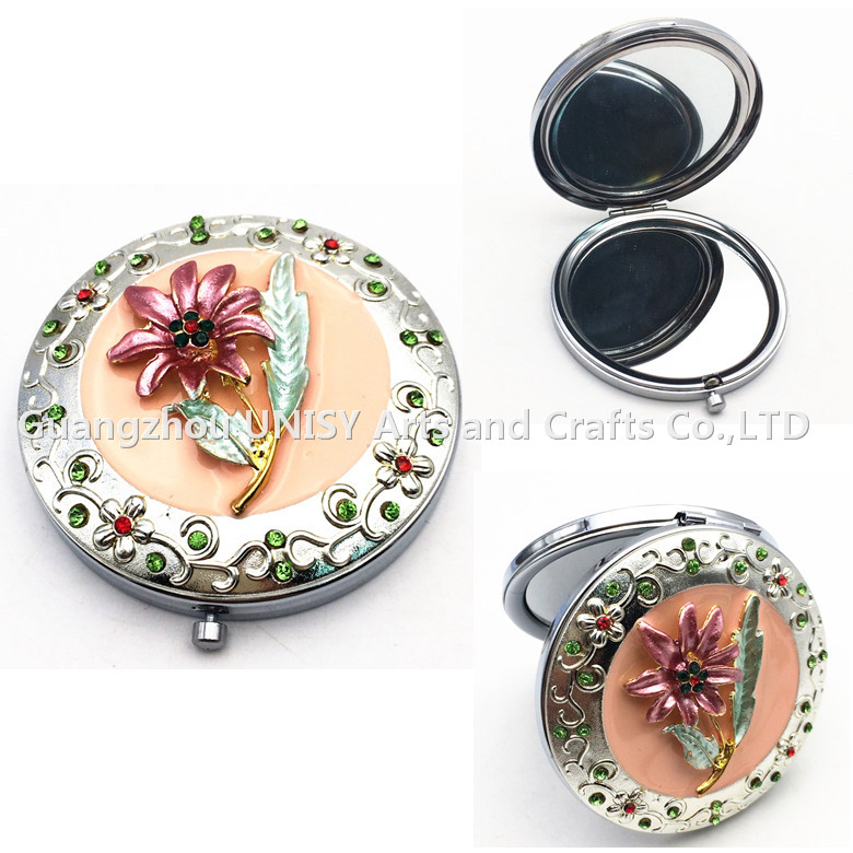 Flower design Folding Comestic Makeup Pocket Mirror with Round shape