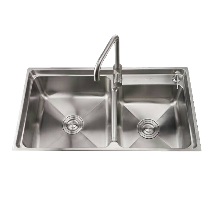 Low price Stainless steel double bowl pressed kitchen sink with drainer