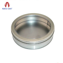 Nice-can Fashion Single Watch Storage Tin Case Packaging Wholesale Cheap Clear PVC Window Silver Metal Round Tin Watch Box