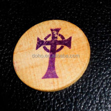 The Cross in my Pocket Old Coin Wooden Nickel 5c Token Round Wood Religious