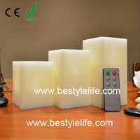 square pattern led paraffin wax candle light