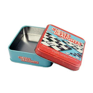 High quality small size square shape metal chess games tin box from china