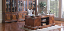 Vintage Style Retro Executive Desk/Chair/Bookcase, Wood Veneer Inlaid Home Office Furniture Set, Solid Wood Carved Writing Desk