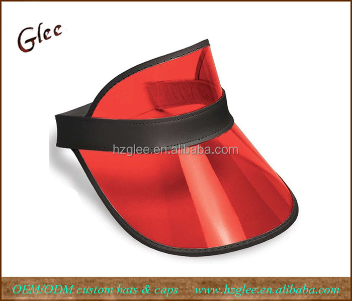 Clear Red Plastic Dealer's Visor Sun Hat
