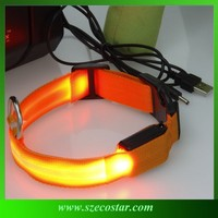 Factory price light up led rechargeable pet collar for dog